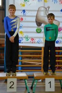 zwei Rollkunstläuferauf dem Podest